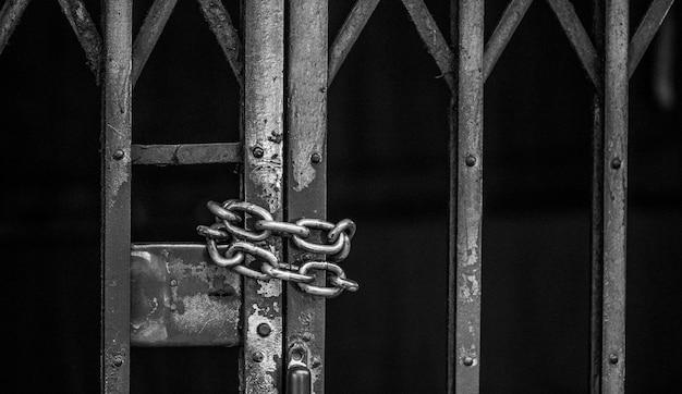 Макрофотография цепной раздвижной решетчатой двери