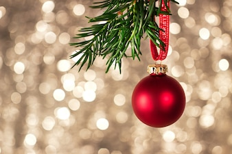 Closeup of christmas decorations with bright colorful bokeh on background, christmas concept