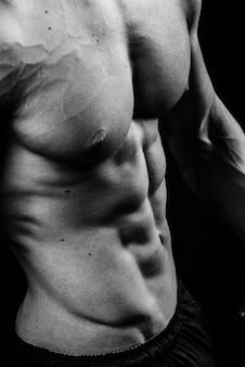 복근 가슴 6 팩 근육 가슴 흑백 스튜디오, 세로 사진과 함께 멋진 완벽한 섹시한 강한 관능적 인 벌거 벗은 몸통의 근접 촬영