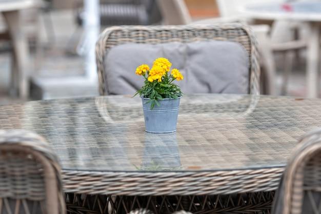 Крупным планом пустой стол за пределами кафе-ресторана на уличном тротуаре букет цветов в горшке