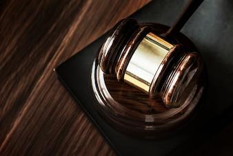 Closeup of gavel judgement concept