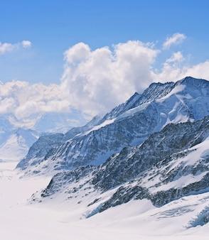 위대한 aletsch 빙하, 융프라우 요흐 스위스의 근접 촬영