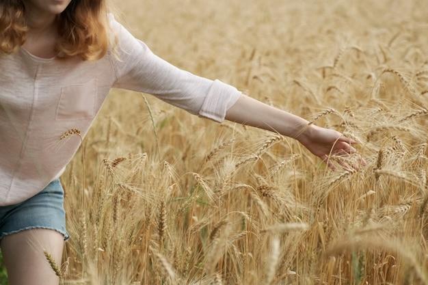 小麦の黄色の小穂に触れる手の女の子のクローズアップ