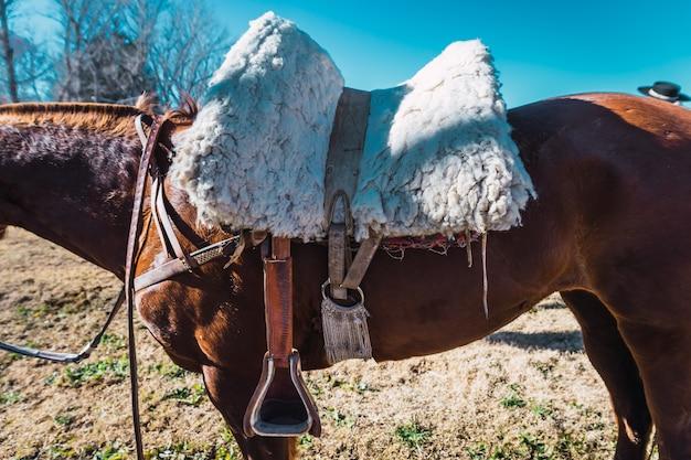 アルゼンチン、パタゴニアの馬の鞍のクローズアップ