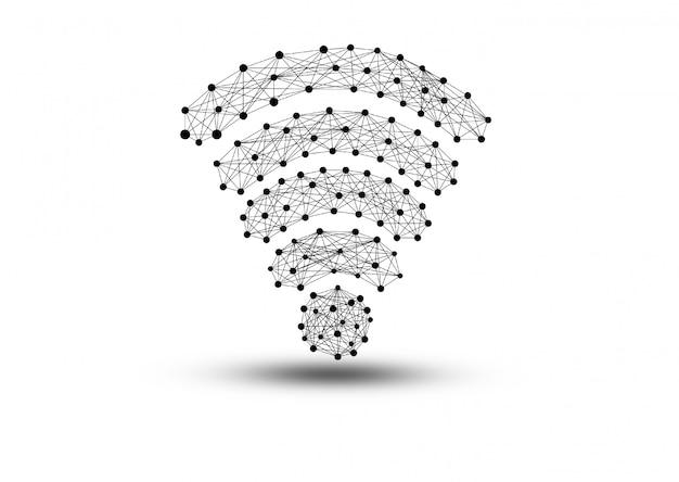白い背景の上の孤立したwifiアイコンのクローズアップ。 5gコンセプトのテクノロジー。