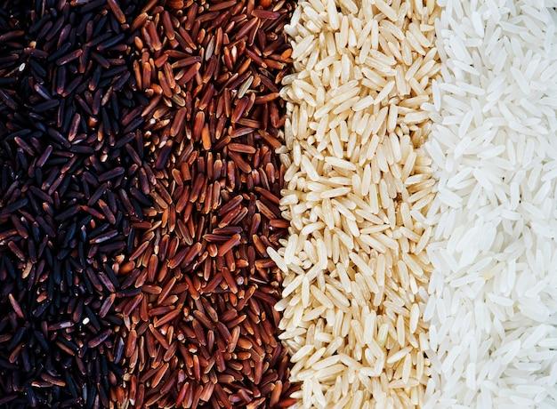 혼합 쌀의 근접 촬영