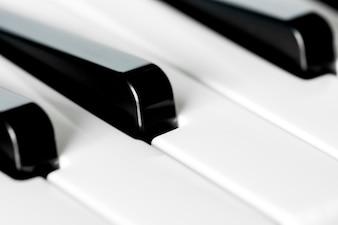 Closeup of piano keyboard