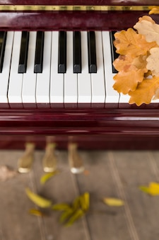 마른 오크 잎이 달린 피아노 건반의 클로즈업