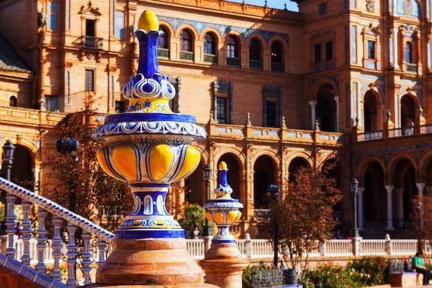 스페인 광장의 근접 촬영입니다. 세비야