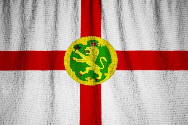 뻗 치고 올 더 네 깃발, 바람에 날리는 올 더 네 깃발의 근접 촬영