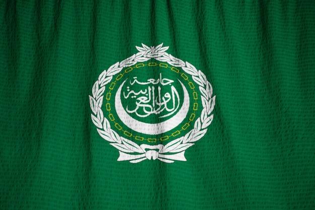 뻗 치고 아랍 리그 깃발, 바람에 날리는 아랍 리그 깃발의 근접 촬영