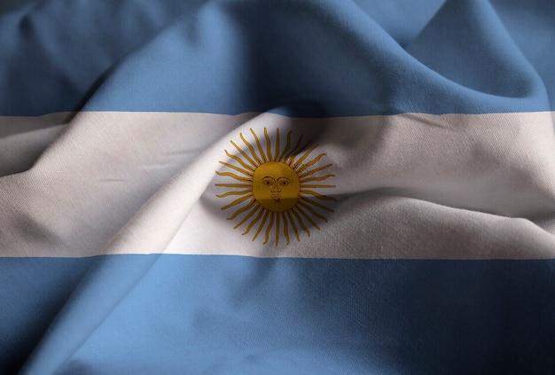 뻗 치고 아르헨티나 깃발, argentinaflag 바람에 날리는의 근접 촬영