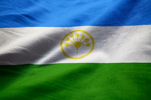 Макрофотография фальшивого флага башкортостана, флаг башкортостана, дующий в ветру
