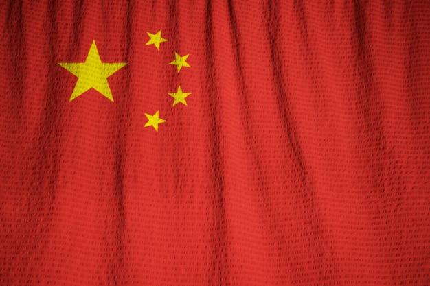 뻗 치고 중국 국기, 바람에 날리는 중국 국기의 근접 촬영