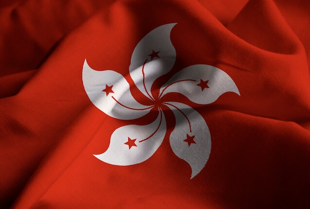 クローズアップの香港の旗、香港の旗風に吹く