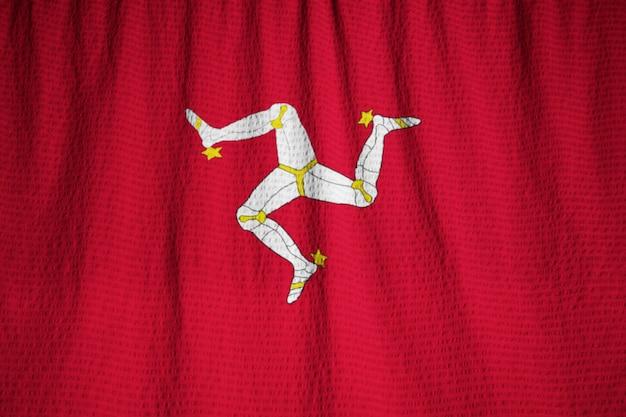 マン・フラッグ島、風に吹かれているマン島の旗