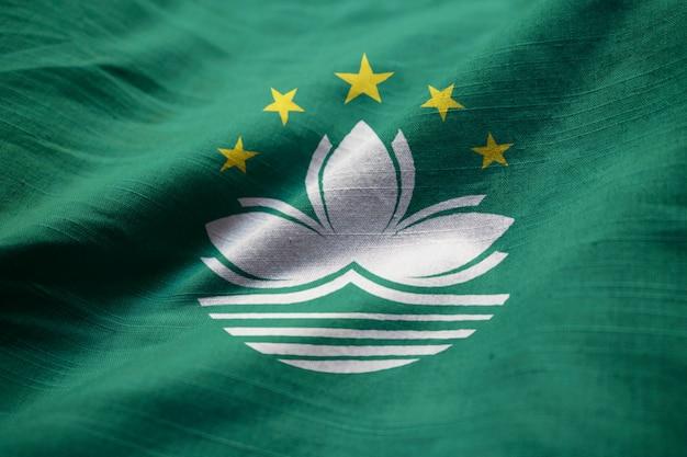 뻗 치고 마카오 깃발, 바람에 날리는 마카오 깃발의 근접 촬영