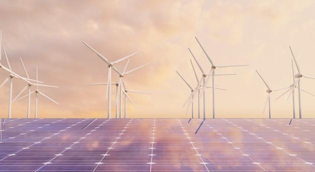 Крупный план панели солнечных батарей с ветряными мельницами позади в отраженном теплом закате. экологическая концепция, возобновляемые источники энергии. 3d визуализация