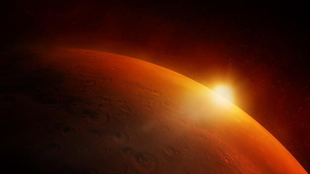 太陽のまぶしさで赤い惑星火星のクローズアップ