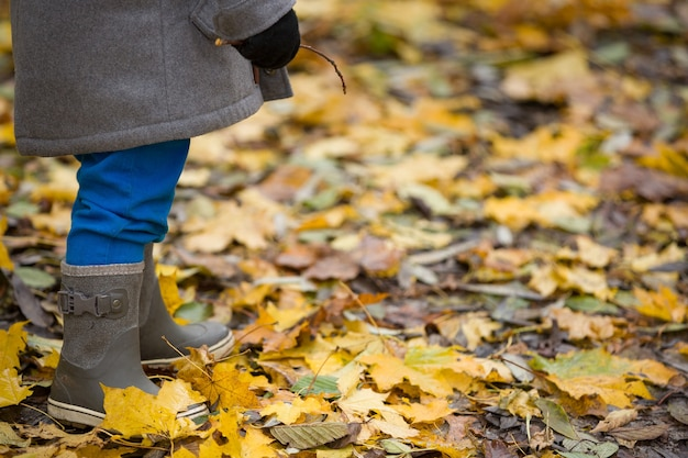 밝은 가을에 유아 고무 장화의 근접 촬영은 공원에서 배경 나뭇잎