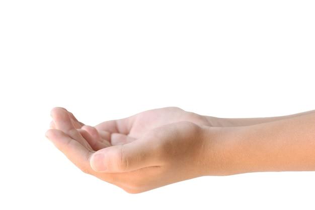 Крупным планом две руки, держа пустой, изолированные на белом фоне.