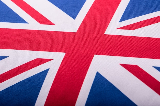 유니온 잭 플래그의 근접 촬영입니다. 영국 국기입니다. 바람에 날리는 영국 유니온 잭 깃발.