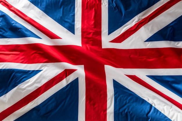 바람에 날리는 유니온 잭 깃발 영국 깃발 영국 유니온 잭 깃발의 근접 촬영