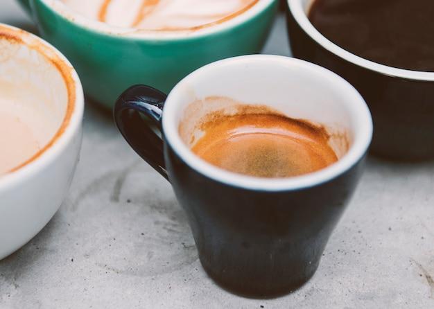 Макрофотография различных горячий кофе