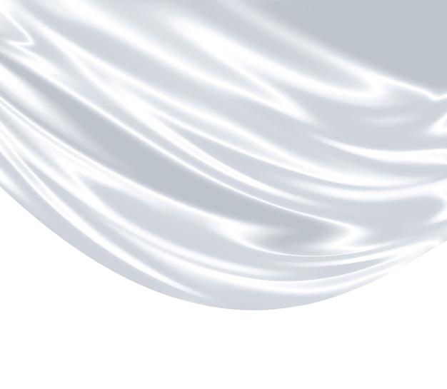 배경으로 흰색 새틴 직물의 근접 촬영