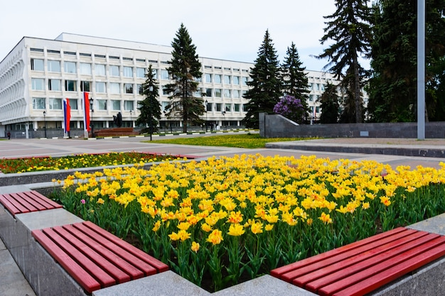 꽃에서 노란색과 빨간색 튤립의 근접 촬영입니다. 여름 정원 풍경입니다. 노란색과 빨간색 꽃 튤립 꽃을 엽니다. 울리야놉스크, 러시아.