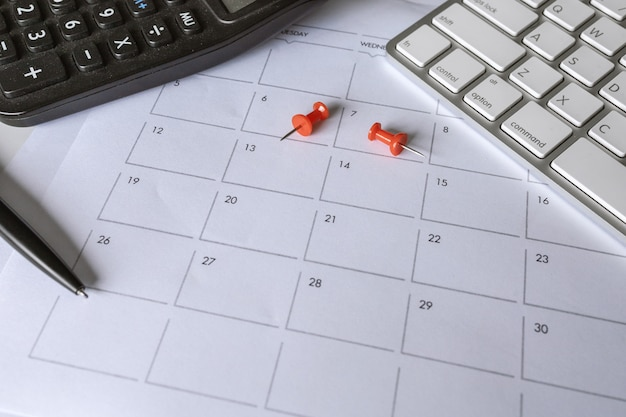 Closeup of office desk with schedule