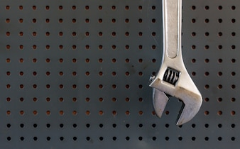 Closeup old adjustable wrench