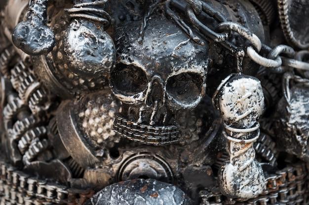 Closeup old iron skull model