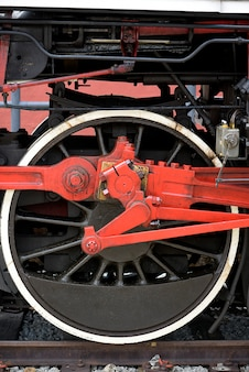 Closeup of old steam locomotive wheels