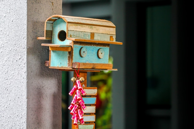 Closeup old style handmade decoration wooden mailbox