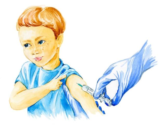 주사기와 환자 십대 아이 covid 19의 어깨와 장갑에 손에 근접 촬영
