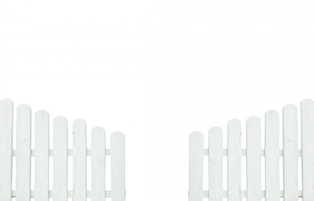 Closeup painted white fence isolated on white