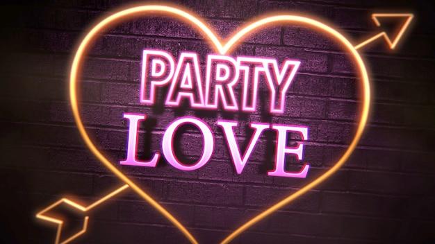 バレンタインデーの光沢のある背景にクローズアップパーティー愛のテキストとロマンチックな心。休日のための豪華でエレガントなスタイルの3dイラスト