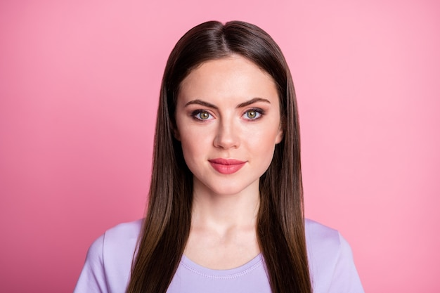 Closeup photo of attractive amazing pretty lady good mood smiling without teeth charming cute long hairdo wear casual violet purple t-shirt isolated pink pastel color background