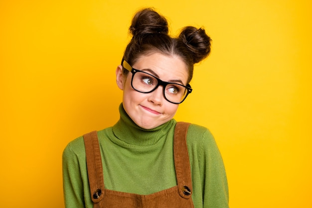 Closeup photo of attractive lady two funny pretty buns good mood