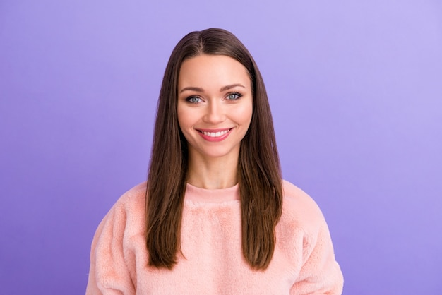 Closeup photo of beautiful pretty lady toothy beaming smiling on purple color background