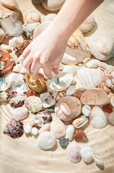 Closeup photo of female hand picking up black pearl