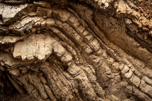 Closeup photo of layered rock formation