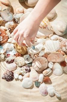 黒真珠を拾う女性の手のクローズアップ写真