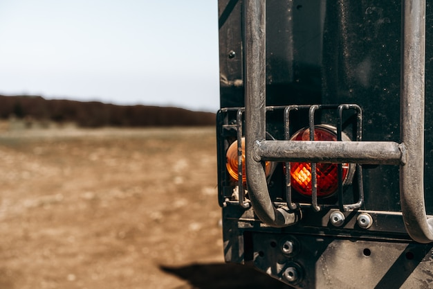 Closeup photo of off road car in mountains