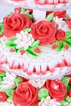 Closeup photo of the red wedding cake
