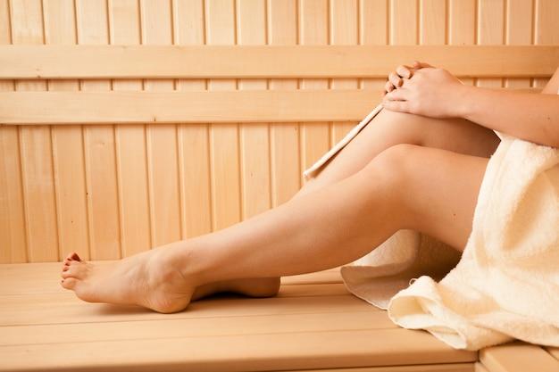 Closeup photo of sexy women feet at sauna