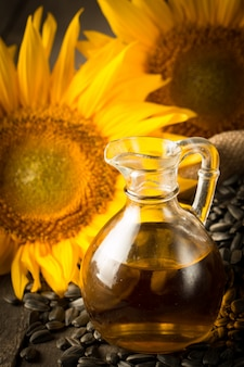 Closeup photo of sunflower oil with seeds