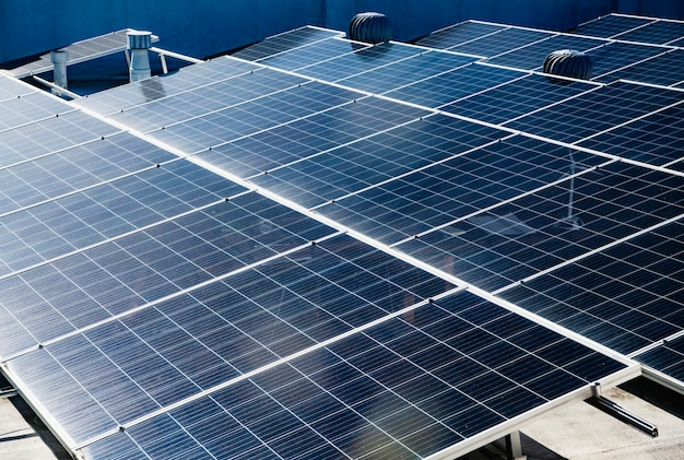 Closeup of photovoltaic power plants background