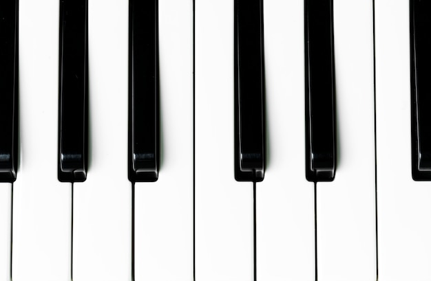 Closeup of piano keyboard